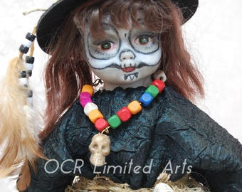 20% Reduce sale price RePainted Porcelain Doll SHAULA GORGON the Witch Doctor ooak creepy cute Horror Enchantress collectible Bruja