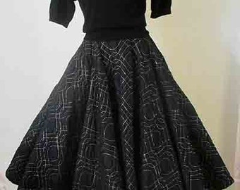 Classic 1950's circle skirt quilted with gold lurex stitching rockabilly pinup girl VLV vintage full circle skirt Size small