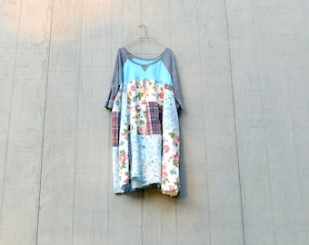 Loose Fit Dress, Summer Dress, Tunic, Upcycled Patchwork, Sporty, Spring, Romantic, Bohemian, Boho, Gypsy, Aline, Wearable Art