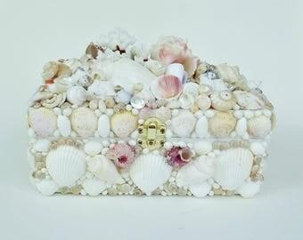 Seashell Box, Coral, Pink Murex, Graduation, Wedding, White
