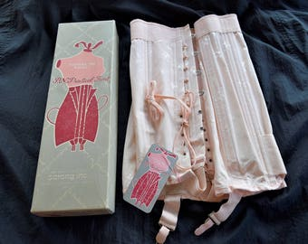 Antique SARONG CORSET GIRDLE Pink Peach Ladies Lingerie Bustier Vintage Box Unused Nos Lace Up Ties 14 in Skirt Medium Size 36 P N Practical