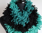 Turquoise Green Black Color Wool Acrylic Chunky Loops Fuzzy Yarn Scarflette Infinity Scarf Cowl Gaiter