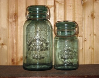 2 Antique Blue Jars Canister Set RARE Authentic McDonald Perfect Seal Lot Glass Lids & Wire Bails Farmhouse Kitchen Storage Minimalist Gift