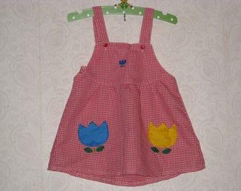 Vintage Red Gingham Girls Dress Jumper Pinafore Size? 2 3 4 Handmade Flowers Tulip Pockets Adjustable Buttons Seersucker