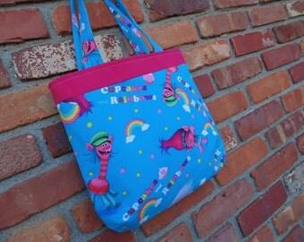Trolls Tote, Girls Tote Bag, Dance Bag, Doll Diaper Bag, Book Bag