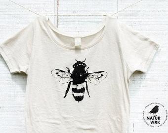 Bee Shirt, Women, Organic Cotton, Honey Bee, Bamboo, Organic shirt - S M L XL- Bee Clothing, Honey Bee Tshirt,Bug, Bee art, Bumble bees