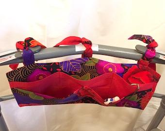Multi Pocket Walker Bag or Armrest bag-Flowers in Red and Purple
