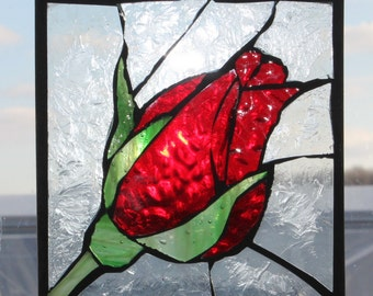 Stained glass .One single red rose bud - Mosaic Stained Glass SunCatcher or wall Decoration
