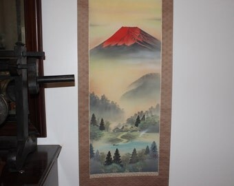 "Red Mt Fuji Asian Scroll Landscape - Large 74 x 21"" Signed - Really Gorgeous Colors Yin & Yang"