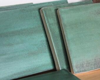 Handmade Stoneware Field Tiles - Matte Glaze Old Copper Patina Green - (6) 4 x 8 & (2) 4 x 4