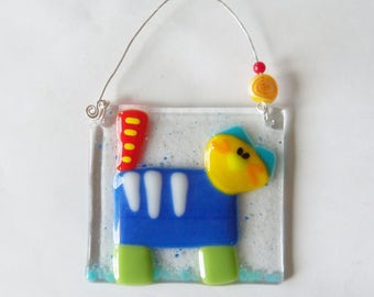 Colorful Cat // Fused GLass Suncatcher // Whimsical // Kitty // Pet // Colorful // Cute // Fun // Art // Small // Get Well // Sun Catcher