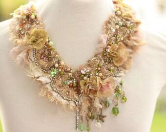 boho wedding necklace, beaded woodland fairy necklace, boho beaded flower neck piece,  textile necklace, gypsy statement neck piece