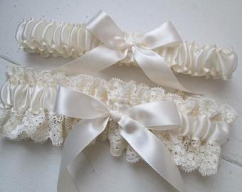 Ivory Wedding Garter Set, Ivory Lace Bridal Garter, Cream- Ivory Garters, Prom 2017 Garters, Country- Vintage- Rustic Bride