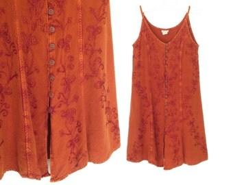 90s Mini Dress * Vintage Sundress * Gold Embroidered Festival Dress * Small - Medium