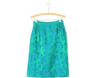 SALE 60s Pencil Skirt * Vintage 1960s Brocade Skirt * Wiggle Skirt * Small