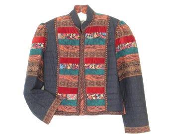 Vintage Quilted Jacket * 80s Boho Blazer * Cropped Folk Jacket * Large