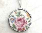 Vintage Broken China Pink Rose Round Necklace