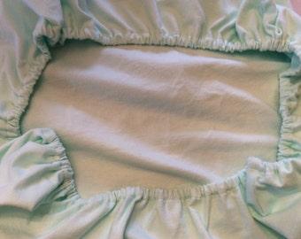 Pack n Play sheet light green. flannel baby gender neutral play yard sheet