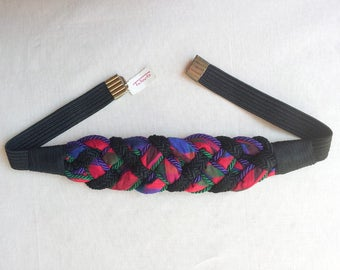 1980s Knotted Silk Belt, Talbot's, Fabric, Cord, Red, Purple, Medium Large