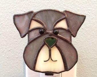 Stained Glass Dog Night Light Schnauzer