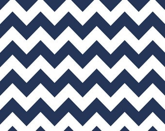Riley Blake - Medium Chevron in Navy - flannel  - by the yard