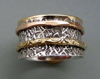 spinner rings, sterling silver rings, sterling jewelry, fidget rings, worry rings, meditation rings, mixed metal rings, one of a kind rings