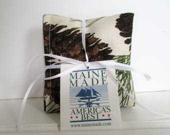 Maine Balsam Fir Pine Cone and Tassel Sachet Set of 3 Pine Scent Ready to Ship