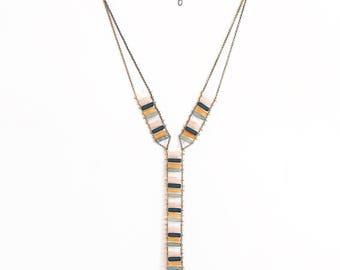 Long Multi Stone Beaded Lariat Necklace