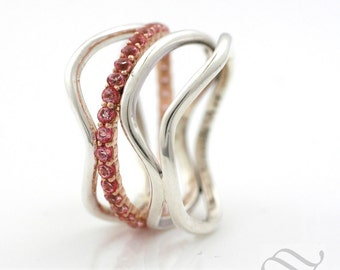 River of Pink - Mixed Metal Delta ring
