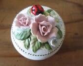 Vintage Bisque Trinket Box Porcelain Flowers & Ladybug Lid Charming