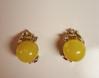 Yellow and Diamante Clip-on Earrings by Coro