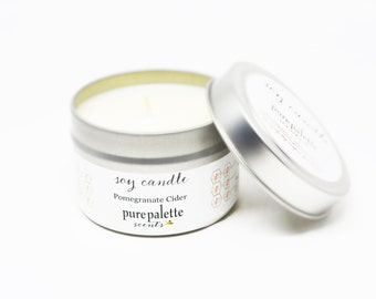 Soy Candle Pomegranate Cider -Travel Tin Candle -  / 4 oz. Scented Candle