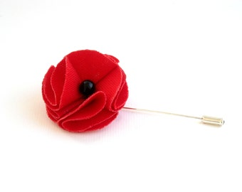 Red poppy flower brooch, men's lapel pin, boutonniere for him, flower lapel pin, stick hat pin, red flower pin, poppy lapel