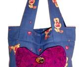 Market Bag, Tote Bag w Pockets Handmade, Small Shopping Bag, Child's small Tote Bag, Library Book Bag, Fabric Tote Bag,