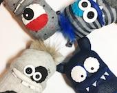 RESERVED - Handmade Monsters, Friends, Sock Monsters
