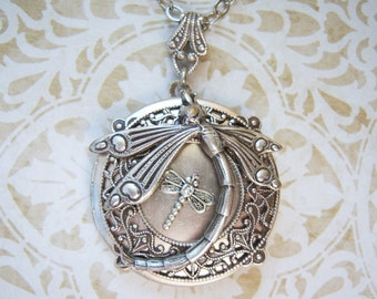 Antiqued silver mother and baby dragonfly locket- BG577