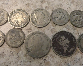 Vintage PORTUGUESE Coins Lot of 10 Escudos centavos Silver 1920s-40s Collecting Jewelry-making