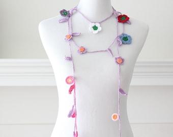Crochet Light Purple, Pink, Red Lariat, Scarf, Necklace, Scarflette