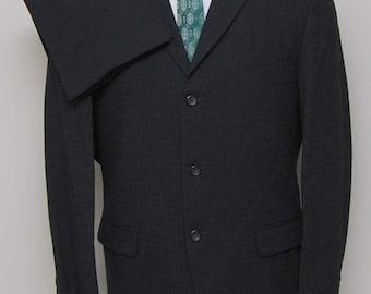 1960s men's black check wool 2 piece suit/ 60s men's black suit/ Robert Hall