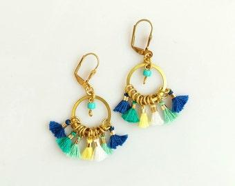 Multi Tassel Earrings, Boho Tassel Statement Earrings, Hoop Dangle Earrings, Mini Tassel Earrings