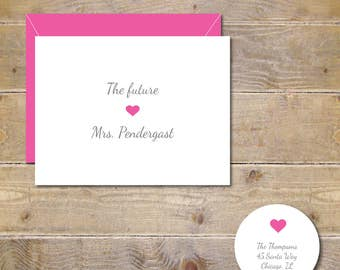 The Future Mrs, Bridal Shower Thank You Cards, Soon To Be Mrs, Bridal Shower Cards, Thank You Cards,  Hearts,  Wedding, Bridal Shower