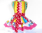 NEW Ready to Ship Retro Kitsch Clown Apron with Polka Dots and Dingle Balls and Vintage Storybook Fabric