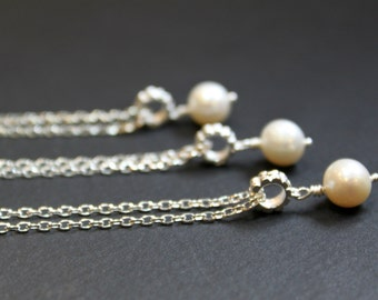 Bridesmaid Gifts, set of 3 Pearl Pendant Necklace, Sterling Silver Chain , Wedding Gift
