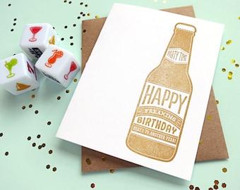 beer birthday letterpress card