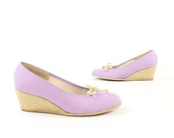 Vintage 70s Canvas Shoes Basketweave Twine Wedges Lavender Purple Heels Pumps Size 8.5 1970s Hippie Boho Festival