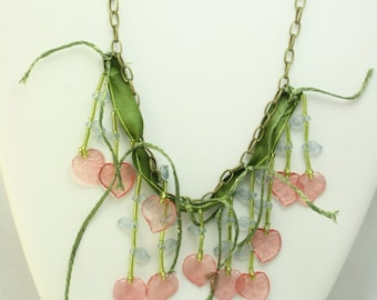 Whimiscal Floral Greens Beaded Necklace on antique brass
