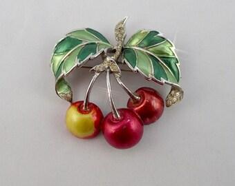 VintageMid Century Enamel & Rhinestone Cherry Brooch Pin w/Hallmark