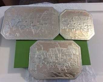 Set of 3 Antique Silver Foiled Hot Pads, Stagecoach design, Raised Stagecoach with horses, Embossed, Trivets Souvenir, Frank M. Sayford Co.