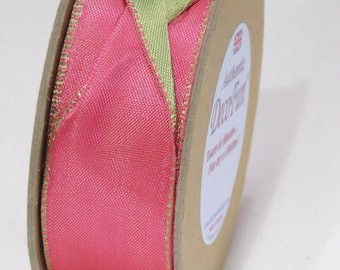 "Hot Pink & Parsley Green Ribbon, Woven Edge Wired Double Satin Ribbon (2 Colour), Made in England 1-1/2"" width (38 mm) 15 ft roll"
