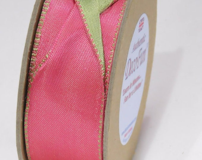 """Hot Pink & Parsley Green Ribbon, Woven Edge Wired Double Satin Ribbon (2 Colour), Made in England 1-1/2"""" width (38 mm) 15 ft roll"""